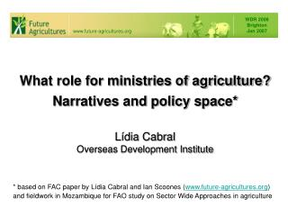 What role for ministries of agriculture? Narratives and policy space*
