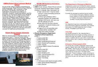 Our Facilities UMDNJ-Robert Wood Johnson Medical School