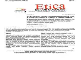 ESTUDIO DESCRIPTIVO SOBRE LOS CONOCIMIENTOS BIOÉTICOS EN UN GRUPO DE ENFERMEROS Y AUXILIARES DE ENFERMERÍA
