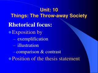 Unit: 10 Things: The Throw-away Society