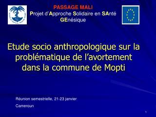 Etude socio anthropologique sur la problématique de l'avortement dans la commune de Mopti