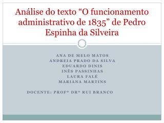 "Análise do texto ""O funcionamento administrativo de 1835"" de Pedro Espinha da Silveira"