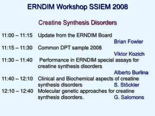 ERNDIM Workshop SSIEM 2008