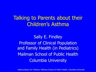 Talking to Parents about their Children's Asthma