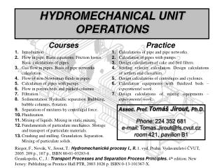 HYDROMECHANICAL UNIT OPERATIONS