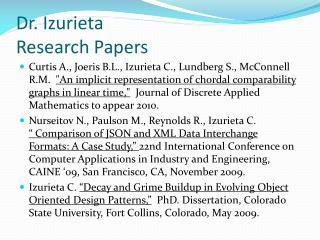 Dr.  Izurieta Research  Papers