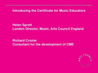 Introducing the Certificate for Music Educators