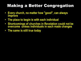 Making a Better Congregation