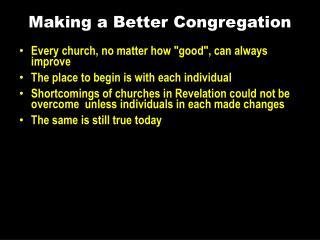 Making a Better Congregation