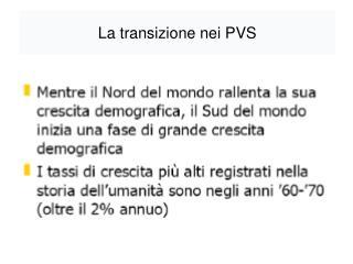 La transizione nei PVS