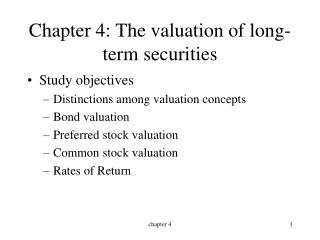 Chapter 4: The valuation of long-term securities