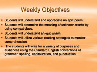 Weekly Objectives