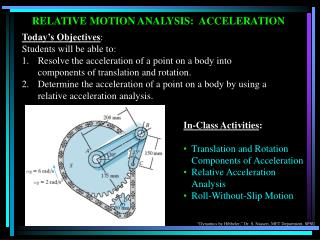 Today's Objectives : Students will be able to:  Resolve the acceleration of a point on a body into components of transl