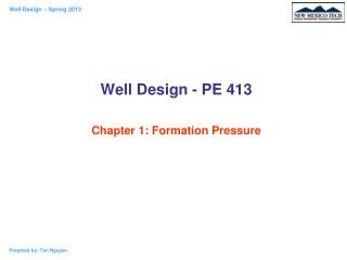 Well Design - PE 413 Chapter 1: Formation Pressure