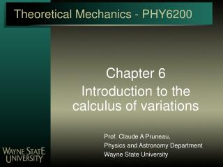 Theoretical Mechanics - PHY6200