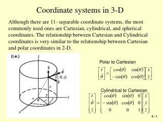 Coordinate systems in 3-D