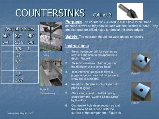COUNTERSINKS       Cabinet 3