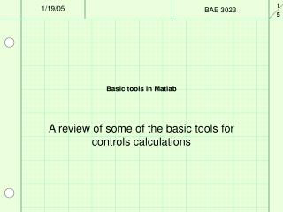 Basic tools in Matlab