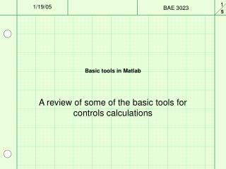 Basic tools in Matlab