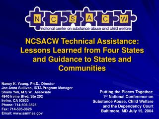 NCSACW Technical Assistance: Lessons Learned from Four States and Guidance to States and Communities