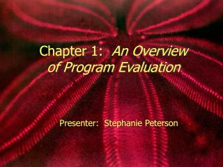 Chapter 1:   An Overview of Program Evaluation
