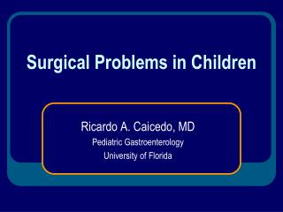 Surgical Problems in Children