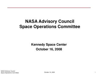 NASA Advisory Council  Space Operations Committee