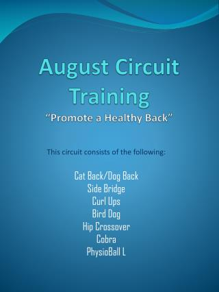 "August Circuit Training ""Promote a Healthy Back"""