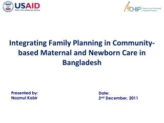 Integrating Family Planning in Community-based Maternal and Newborn Care in Bangladesh