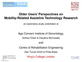 Older Users' Perspectives on  Mobility-Related Assistive Technology Research