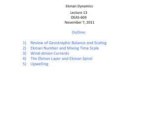 Ekman Dynamics