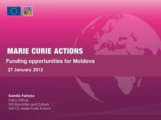 Funding  opportunities for Moldova       27 January 2012