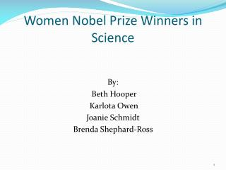 Women Nobel Prize Winners in Science