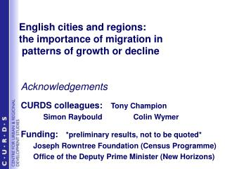 English cities and regions:  the importance of migration in  patterns of growth or decline