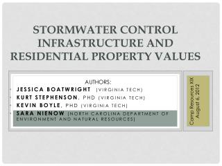 Stormwater  Control Infrastructure and Residential Property Values