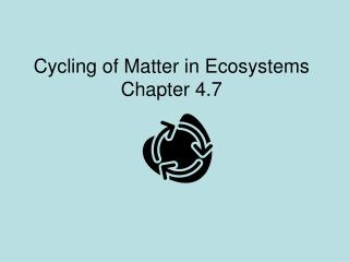 Cycling of Matter in Ecosystems Chapter 4.7