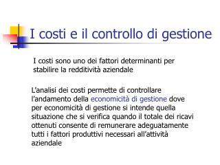I costi e il controllo di gestione