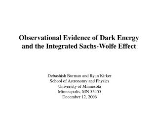 Observational Evidence of Dark Energy and the Integrated Sachs-Wolfe Effect