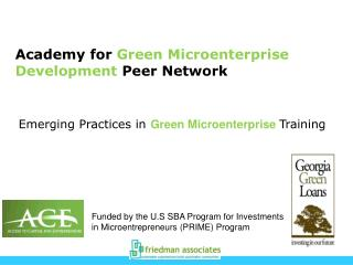 Academy for  Green Microenterprise Development  Peer Network