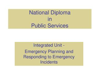 National Diploma in Public Services