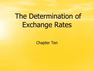 The Determination of Exchange Rates