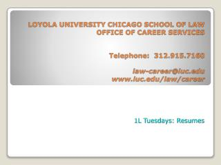 1L Tuesdays: Resumes