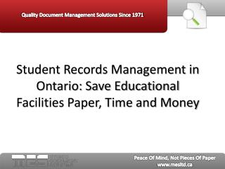 Student Records Management in Ontario: Save Educational Faci