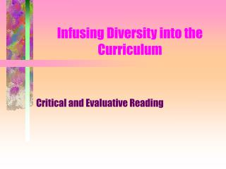 Infusing Diversity into the Curriculum