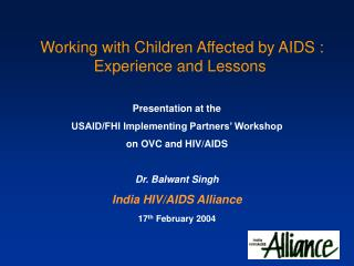 Working with Children Affected by AIDS : Experience and Lessons
