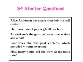 S4 Starter Questions