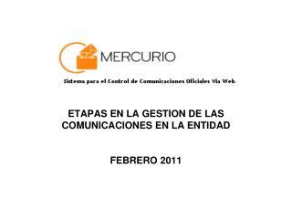 ETAPAS EN LA GESTION DE LAS COMUNICACIONES EN LA ENTIDAD FEBRERO 2011