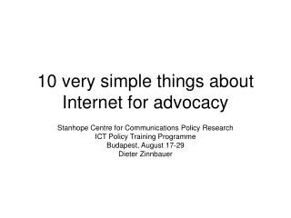 10 very simple things about Internet for advocacy
