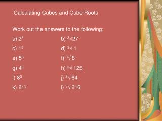 Calculating Cubes and Cube Roots
