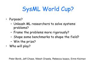 SysML World Cup?